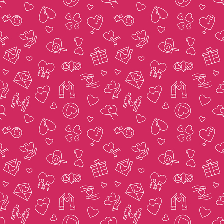 Romance vector red linear creative seamless pattern. Love concept outline background