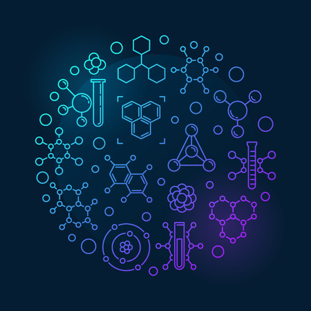 Molecule vector round colorful outline illustration Vectores