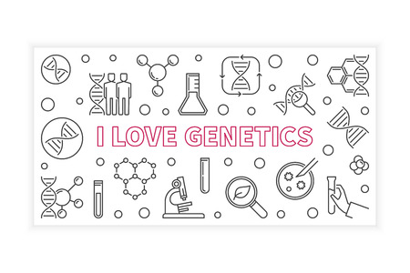 I Love Genetics concept outline banner. Vector linear illustration on white background