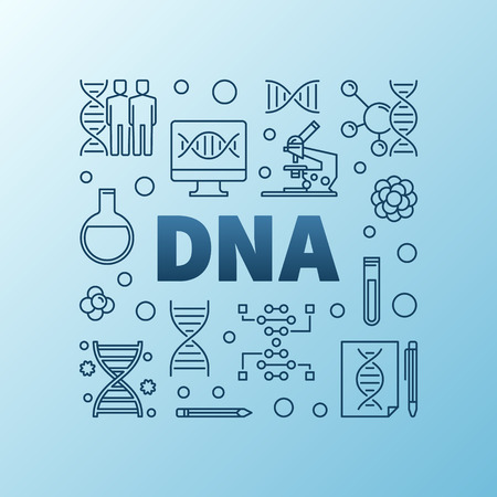 DNA- oder Desoxyribonukleinsäure-Vektor-blaue Linie Illustration