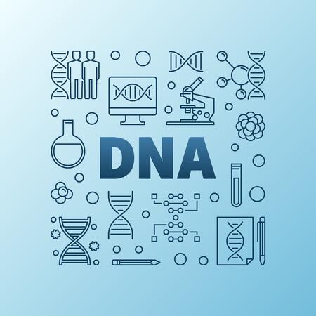 DNA or Deoxyribonucleic acid vector blue line illustration