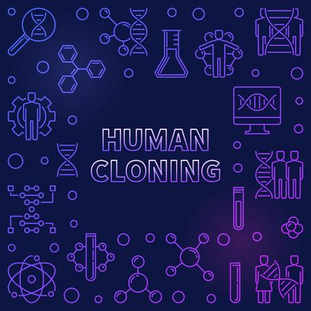 Vector Human Cloning colorful outline frame or illustration