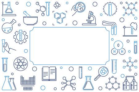 Chemical outline horizontal banner or frame. Vector illustration on white background