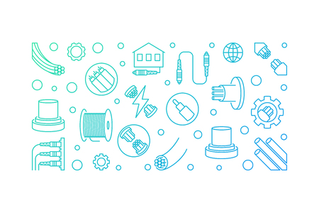Fiber-optic Communication concept outline colored horizontal banner. Vector illustration