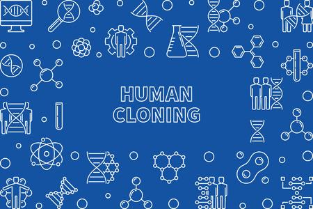 Human Cloning outline horizontal frame. Vector illustration