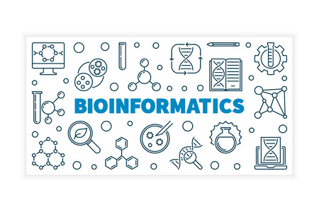 Bioinformatics vector illustration or banner in thin line style Ilustração