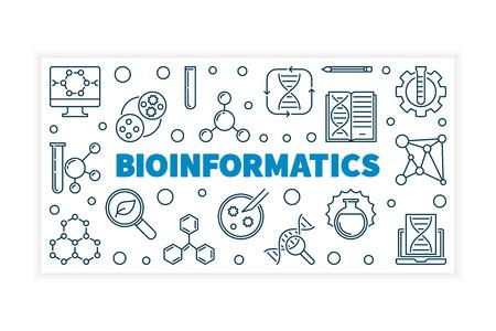 Ilustración de vector de bioinformática o banner en estilo de línea fina