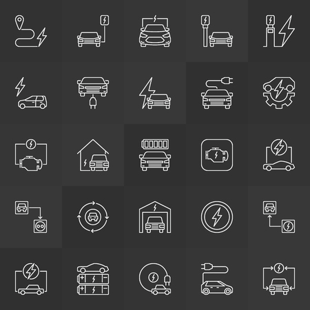 Plug-in electric automobile simple vector outline icons
