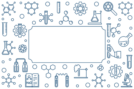 Chemistry vector minimal horizontal illustration or frame in thin line style on white background