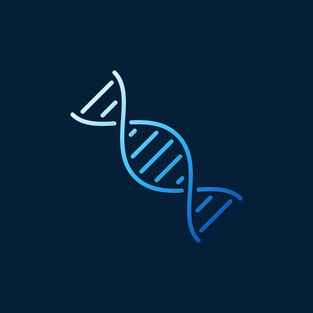 DNA Helix vector outline blue minimal icon or logo element on dark background