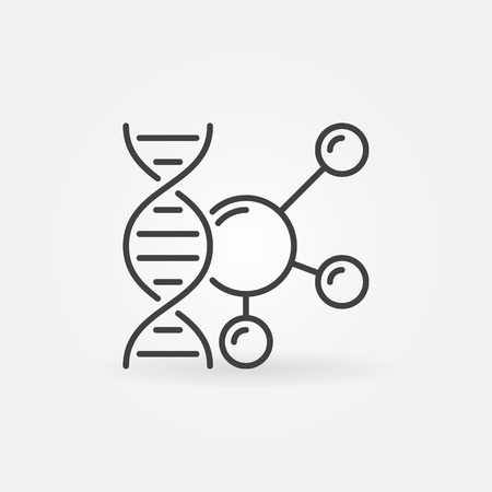 DNA with molecule vector outline icon. Genetics concept symbol in thin line style