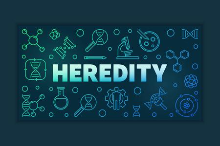 Heredity vector outline colorful horizontal illustration or banner on dark background Ilustração