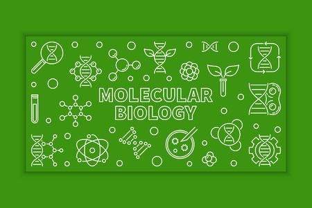Vector Molecular Biology green horizontal banner or illustration in thin line style Ilustración de vector