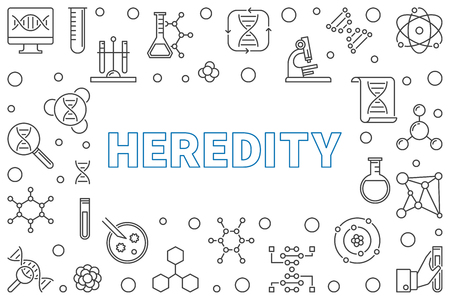 Heredity concept horizontal frame in thin line style. Vector illustration or banner