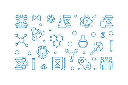Human Genetic Engineering vector blue concept outline horizontal illustration on white background Illustration