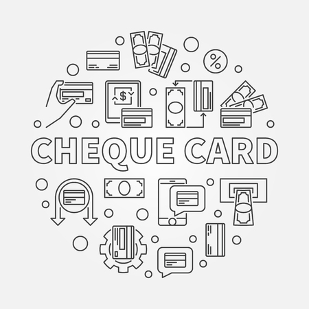 Cheque Card vector concept round simple illustration in thin line style