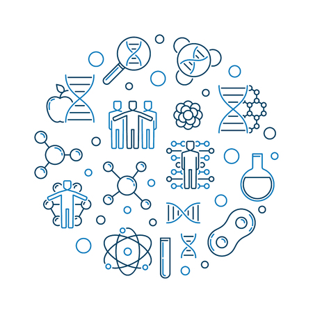 Human Genetic Engineering vector outline round illustration