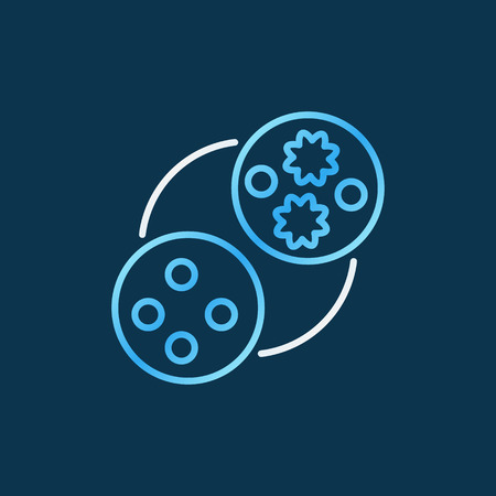 Petri Dish vector colored outline icon on dark background