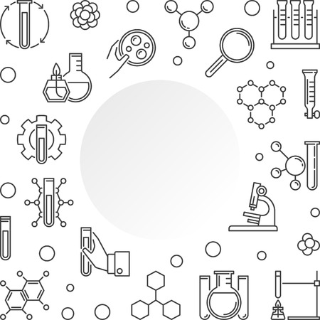Chemistry vector minimal concept illustration with outline round frame Çizim