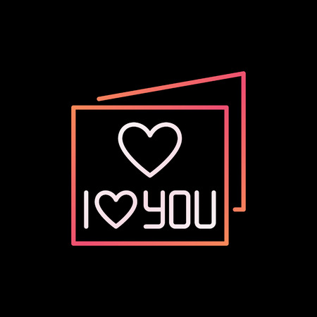 I Love You Card vector colored thin line icon or logo element