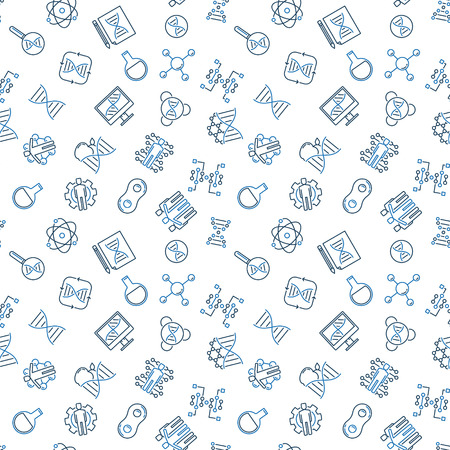 Cloning vector concept minimal seamless pattern or background in thin line style