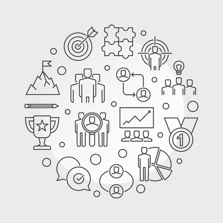 Business Leader vector round illustration in outline style