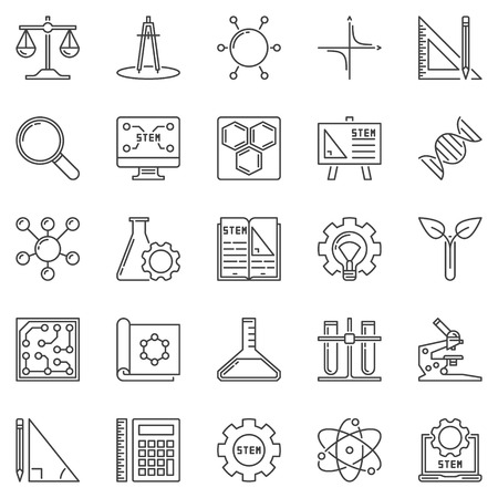 STEM outline icons set. Vector Science, Technology, Engineering and Mathematics concept symbols or design elements