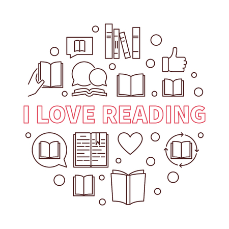 I Love Reading vector round outline learning and education concept illustration Ilustração