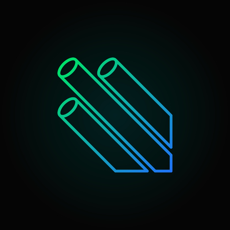 Optical fiber Wire vector colored outline icon on dark background