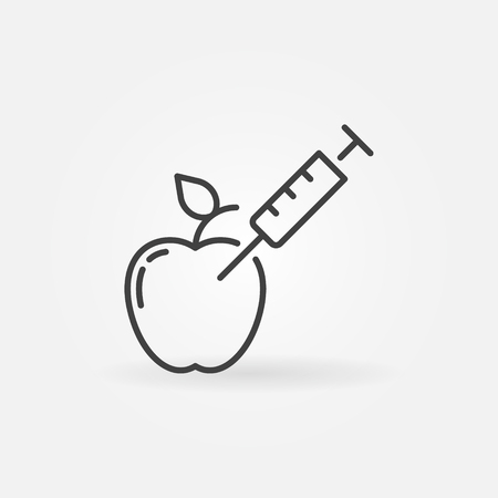 Apple with syringe vector biotechnology concept icon or symbol in thin line style