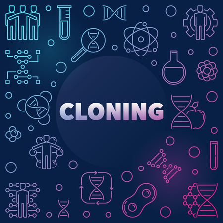 Cloning vector modern colorful linear concept illustration on dark background