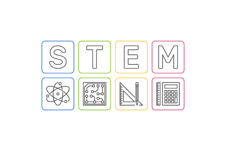 STEM vector concept Science, Technology, Engineering and Mathematics illustration in thin line style