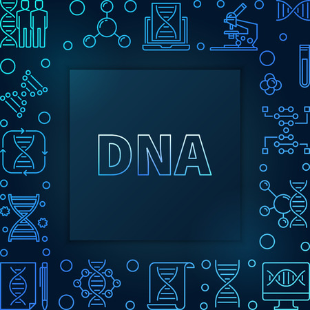 DNA square blue linear frame - vector illustration made with deoxyribonucleic acid outline icons on dark background