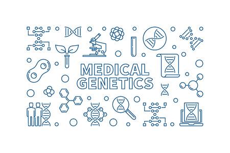Medical Genetics vector medicine concept horizontal illustration in thin line style Illustration