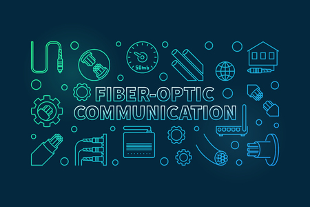 Vector Fiber-optic Communication colored linear concept horizontal illustration on dark background