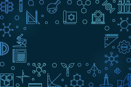 Science, Technology, Engineering and Mathematics vector concept linear blue frame or illustration on dark background Ilustração