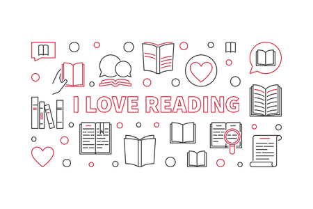 I Love Reading vector outline learning and education concept horizontal illustration Ilustração