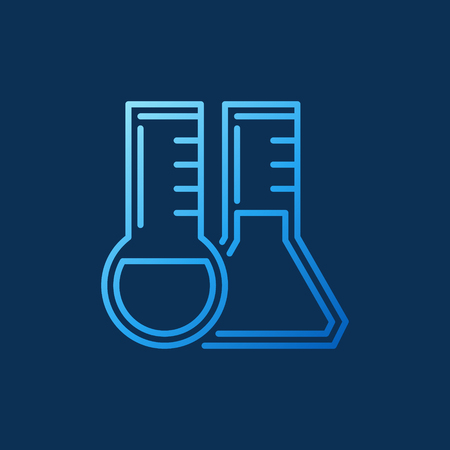 Round-bottom and Conical flask outline blue vector icon