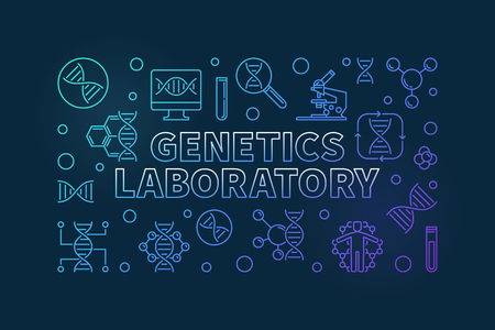 Genetics Laboratory vector colorful line horizontal banner