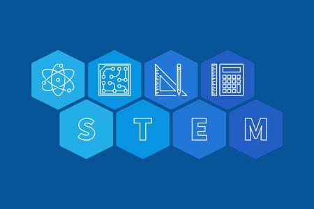 STEM concept banner. Vector blue hexagonal illustration