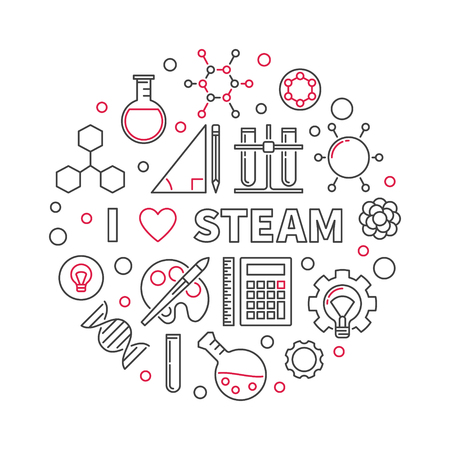 I Love STEAM vector creative linear round illustration