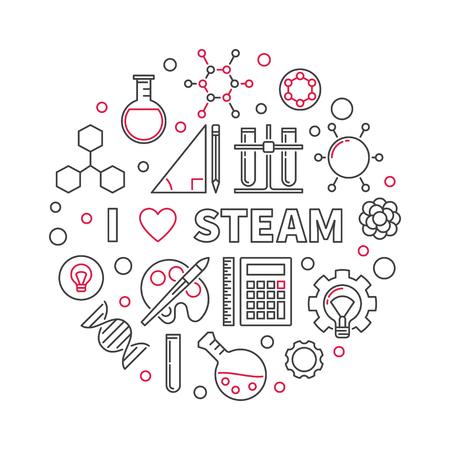 I Love STEAM vector creative linear round illustration
