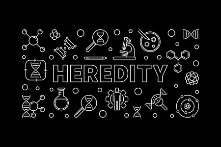 Heredity banner in outline style. Vector linear illustration
