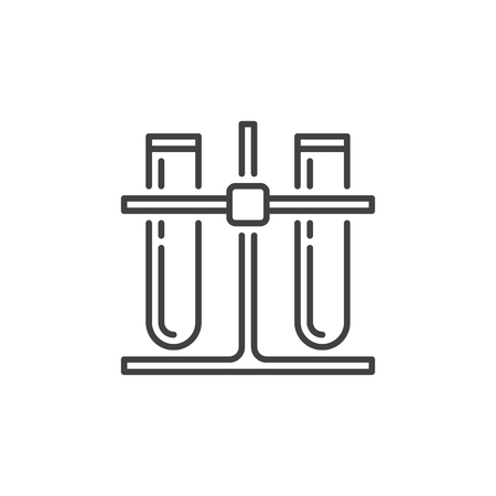 Two Test Tubes on rack vector outline icon. Laboratory Equipment concept linear sign