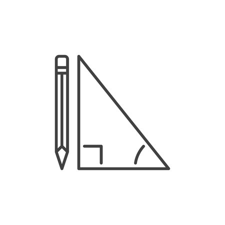 Triangle with Pencil vector outline icon or design element