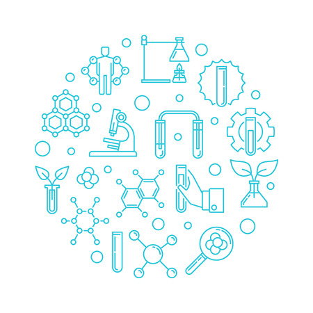 Biological Chemistry vector round outline blue illustration