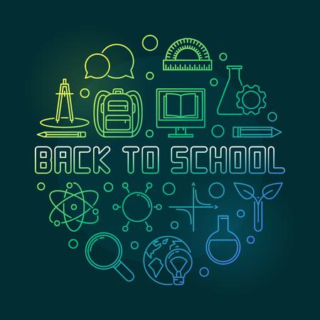 Back to School vector concept round linear green illustration Ilustração