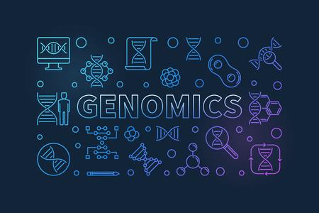 Genomics vector colorful line banner on dark background Stock Illustratie