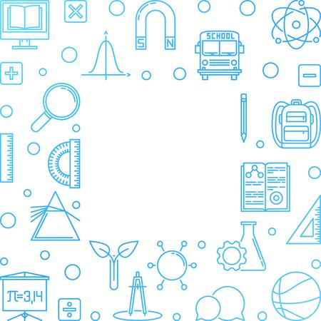 Welcome Back to School vector concept outline illustration Ilustração