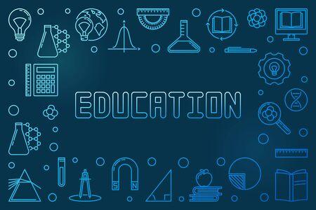 Education concept horizontal blue linear frame - vector banner